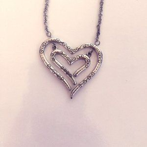 Silver Brighton heart shaped two way necklace